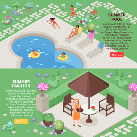 Landscape design horizontal banners set with summer pool symbols isometric isolated vector illustration