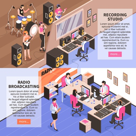 Recording studio and radio broadcasting horizontal banners with music band announcer and newscasters isometric vector illustration