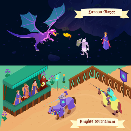 Set of medieval isometric horizontal banners battle with dragon and tournament of knights isolated vector illustration Illustration
