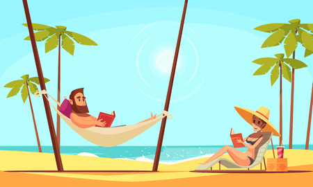 Beach reading background with sand palms and sea flat vector illustration Banco de Imagens - 113030604