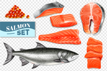 Realistic set of salmon fish steaks and caviar isolated on transparent background vector illustration Иллюстрация