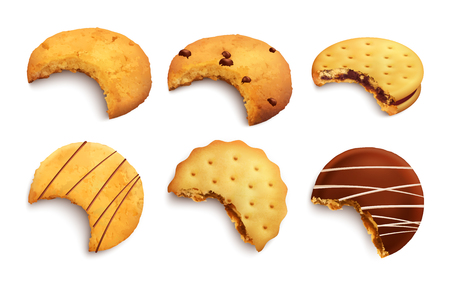 Set of different kind of bitten tasty cookies glazed with chocolate crumbs and jam layer isolated realistic vector illustration
