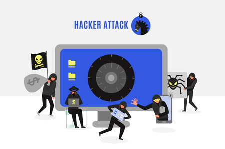 Attack of hacker group composition with computer crackers and safe lock on monitor screen vector illustration Illustration