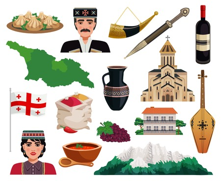Georgia tourism flat icons set with country map flag monuments landmarks national cuisine dishes isolated vector illustration