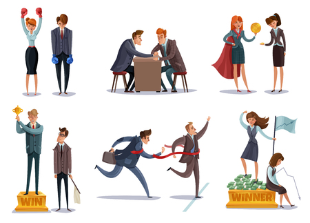 Investor business winner loser characters set of isolated images with doodle style characters enter sport competitions vector illustration