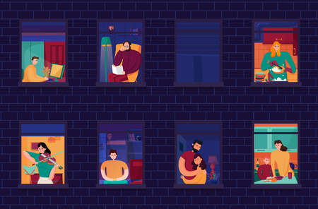 Neighbors during evening occupations in windows of home on background of brick wall night vector illustration