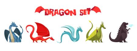 Divertidos coloridos dragones que respiran fuego monstruos serpientes extrañas como criaturas iconos planos de dibujos animados conjunto aislado ilustración vectorial