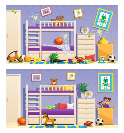 Clean and messy children room set of banners with furniture and interior objects isolated vector illustration Illustration