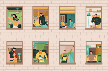 Ensemble de voisins lors de diverses activités dans les fenêtres de la maison sur l'illustration vectorielle de fond de mur de briques