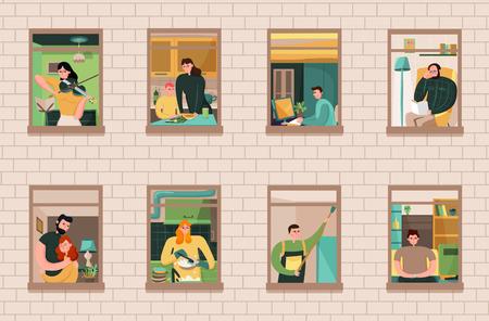 Insieme dei vicini durante le varie attività nelle finestre della casa sull'illustrazione di vettore del fondo del muro di mattoni