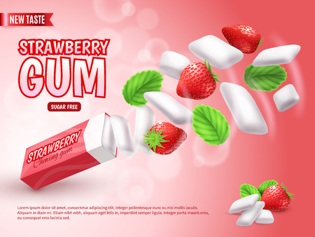 Chewing gum with strawberry and green leaves on blurred red gradient background advertising composition realistic vector illustration Illustration