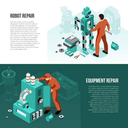 Mechanic set of isometric horizontal banners with repair of robot and maintenance equipment isolated vector illustration