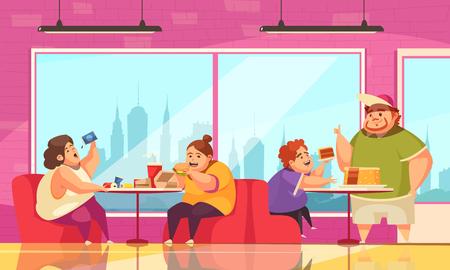 Völlerei- und Caféhintergrund mit Leuten, die Symbole flache Vektorillustration überessen