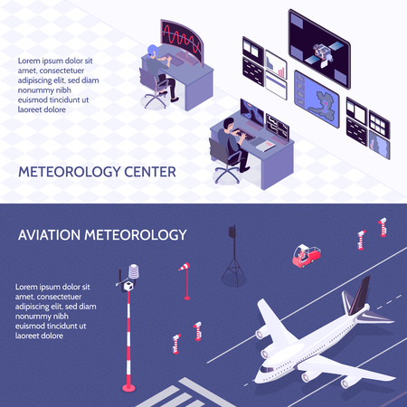 Two horizontal isometric meteorological weather center banner set with meteorology center and aviation meteorology descriptions vector illustration