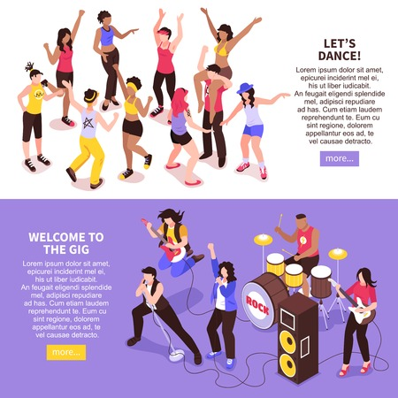 Open air music festival horizontal banners with rock band and dancing crowd of audience isometric vector illustration
