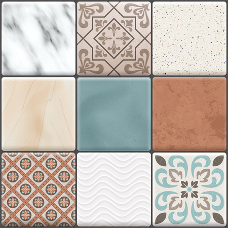Colored realistic ceramic floor tiles icon set different types colors and patterns vector illustration Reklamní fotografie - 127237292