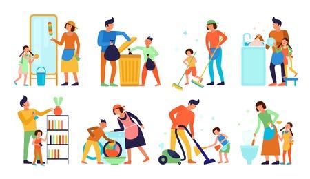 Insieme dei bambini che aiutano i genitori con la pulizia domestica isolata sull'illustrazione piana di vettore del fondo bianco