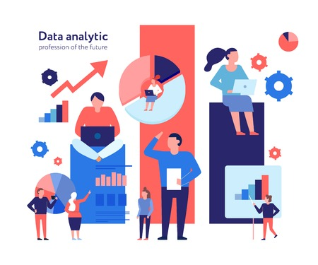 Advanced data analytics technologies flat composition with business models strategy statistic analysis growth opportunities prediction vector illustration
