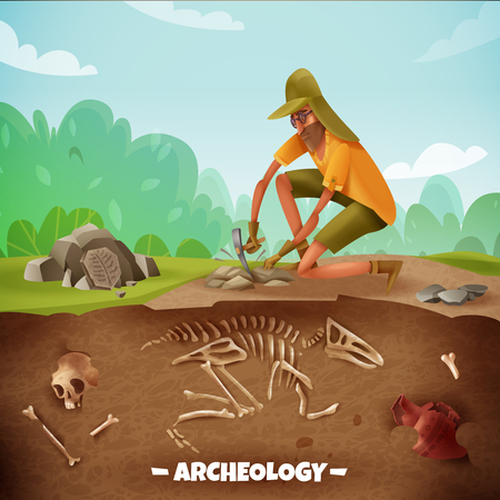 Archeology background with text and archeologist character during archeological excavations with dinosaur bones and outdoor landscape vector illustration 일러스트