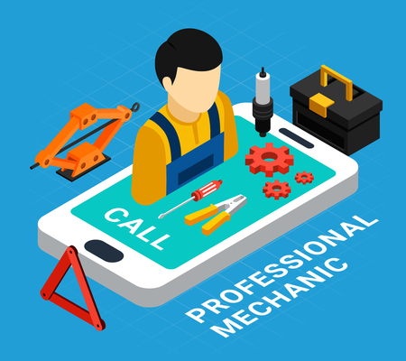 Professional mechanic isometric concept with equipment and call symbols vector illustration Stockfoto - 113030565