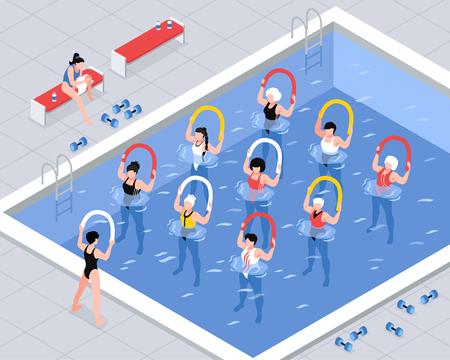Grupo de mujeres de clase de aeróbicos acuáticos durante ejercicios con equipo en la ilustración de vector isométrico de piscina Ilustración de vector