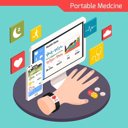 Modern medical technology isometric composition with smart electronic portable devices connected to virtual health care system vector illustration Vectores