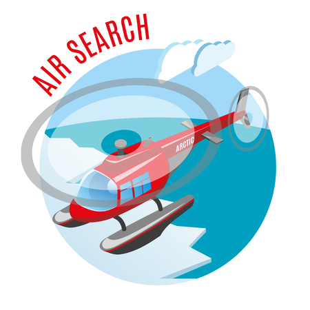 Search from air round isometric composition with helicopter above polar ice and arctic ocean vector illustration