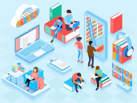 Composición de elementos isométricos de la biblioteca en línea con personas que leen libros electrónicos en una computadora portátil, almacenamiento en la nube, estantería, ilustración vectorial