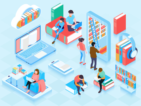 Online library isometric elements composition with people reading ebooks on laptop home cloud storage bookshelf vector illustration Vectores