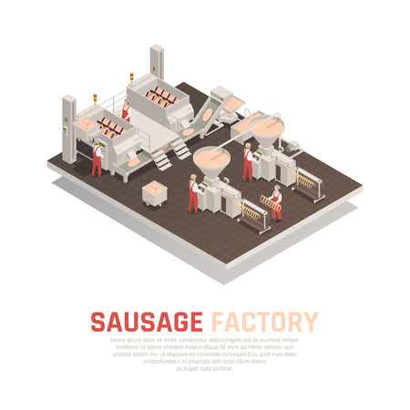 Sausage factory isometric composition with workers and industrial equipment for meat kneading and product molding vector illustration