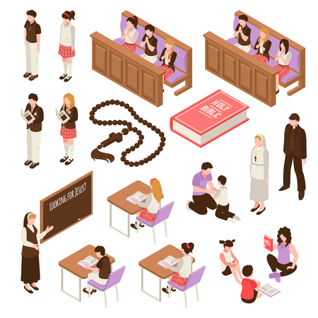 Religious education set of isometric icons learning at sunday school children during praying isolated vector illustration