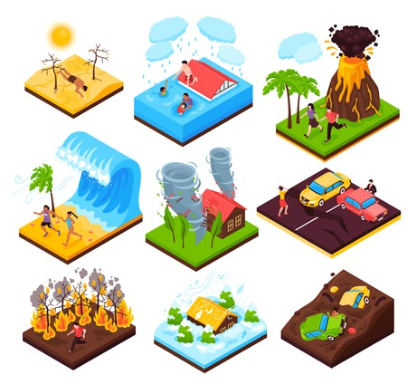 Natural disaster  set of eruption wildfire flood tornado drought tsunami isometric compositions isolated vector illustration 일러스트