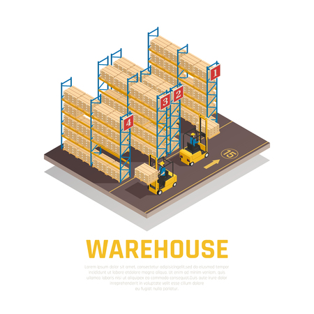 Warehouse isometric composition of racks with boxes and workers loading cargo by forklift vector illustration