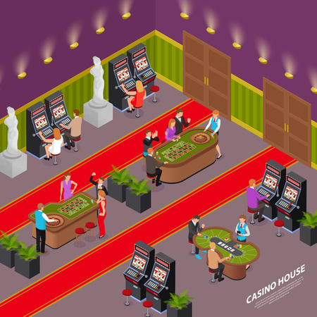Casino house playing room interior isometric composition with slot machines poker card game roulette table vector illustration