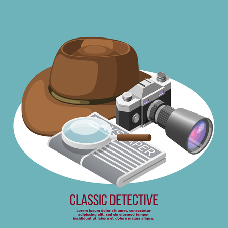 Classic detective isometric retro composition composed from felt hat newspaper loupe and camera with professional objective lens vector illustration