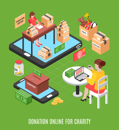 Charity isometric background with young woman making online voluntary donation  through charitable foundation vector illustration Illustration