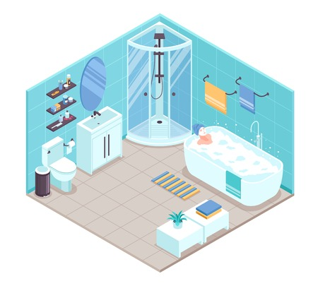 Bathroom interior isometric view with oval bathtub corner shower cabine toilet sink units towel holders accessories vector illustration