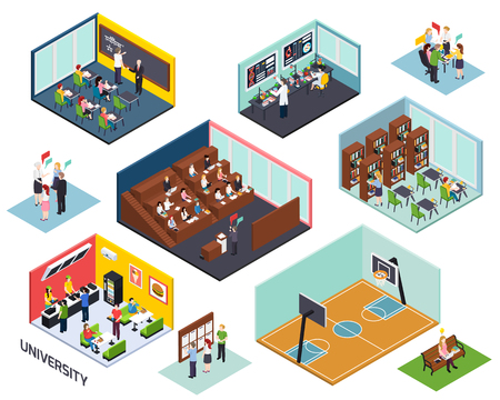 University study concept 10 isometric compositions set with classroom lecture library project sport outdoor isolated vector illustration Illustration