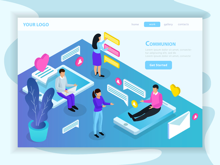 Virtual communication isometric landing web page with messaging people sitting on tablet and smartphone screens vector illustration Vetores