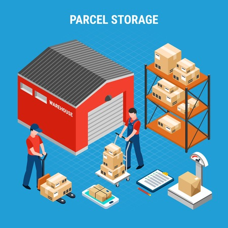 Colored mail isometric composition with parcel storage headline and workers on in unloading parcels process vector illustration Ilustracja