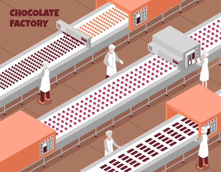 Chocolate factory isometric background with automated food production line and people controlling working process vector illustration Foto de archivo - 127220155