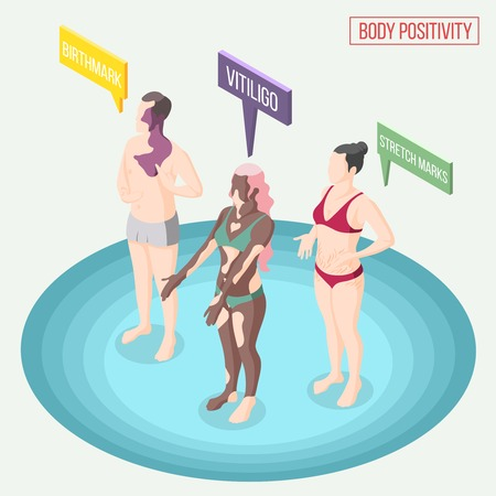 Body positivity movement isometric composition with people in underwear demonstrating their skin problems vector illustration