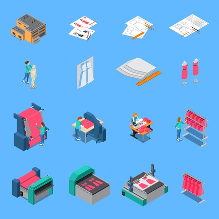 Clothes factory isometric icons set with production symbols isolated vector illustration