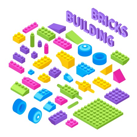 Children toy constructor isometric blocks set with colorful plastic building bricks wheels pieces components isolated vector illustration Çizim