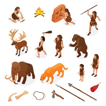 Primitieve mensen leven isometrische set met jachtwapens beginnend vuur rots schilderij dinosaurus mammoet geïsoleerde vectorillustratie