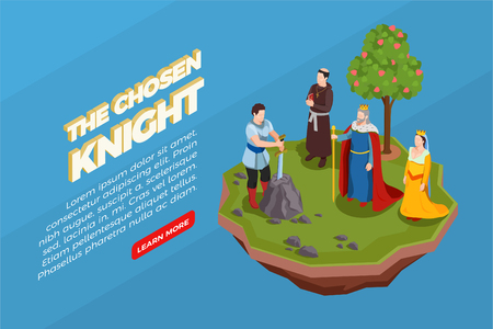 Chosen knight with sword in stone priest royal persons medieval isometric composition on blue background vector illustration