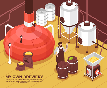 One-man brewery facility with barley sacks malting heating fermentation equipment and proud owner isometric vector illustration Иллюстрация