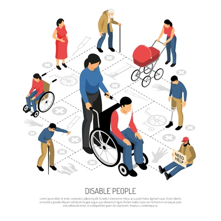 Disabled people isometric composition with pregnant woman persons in wheel chair retired and blind man vector illustration