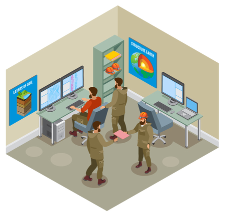 Earth research, geological laboratory with scientists, computers, educational placards on walls isometric composition vector illustration