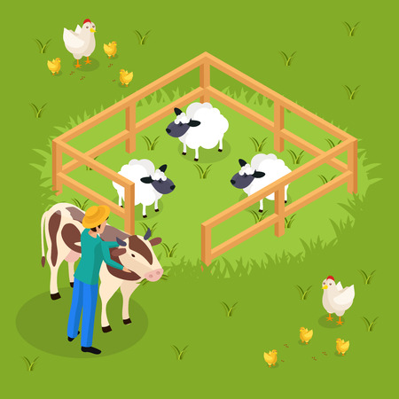 Ordinary farmers life isometric background with cattle and farm animals sheepfold and human character embracing cow vector illustration Vector Illustration